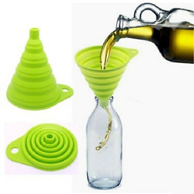 Mini Silicone Gel Practical Collapsible Foldable Funnel Hopper Kitchen Tool