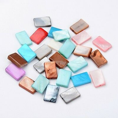 200pcs Rectangle Shell Mixed Color Dyed Beads 15~15.5x10x3~4mm DIY Findings