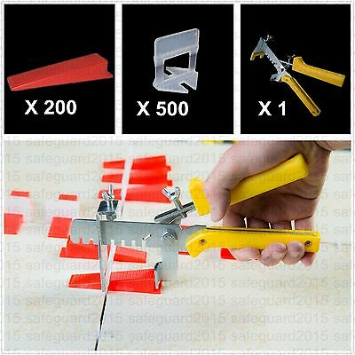 701 Tile Leveling System 500 Clips+200 Wedges+1 Pliers Floor Wall Tiling Spacers