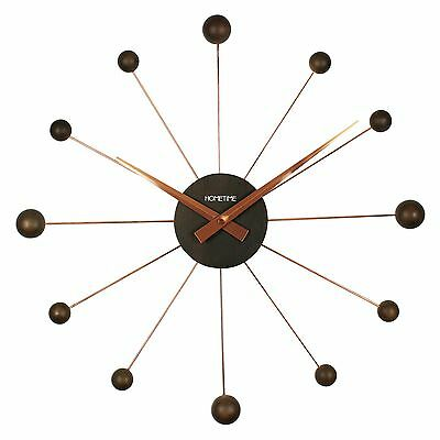 Modern Contemporary Chrome and Wooden Wall Clock - Brown - Bedroom / Kitchen