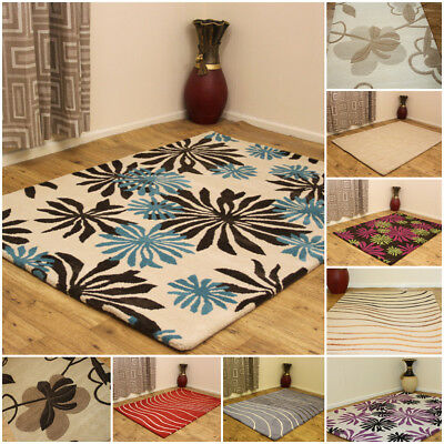 Small Extra Large 100% Pure Indian Wool Rug Floral Multi Coloured Clearance Sale