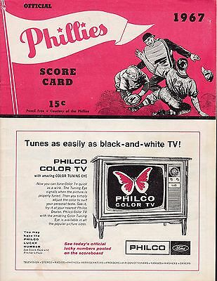 Phillies vs Reds 1967 baseball scorecard Pappas win & signed
