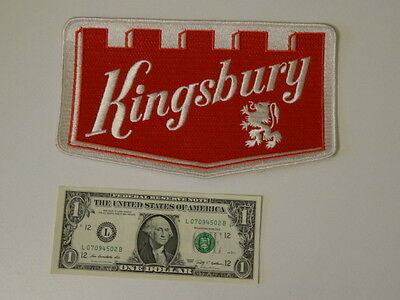 """Vintage 1960s """" Kingsbury Beer """" Advertising Embroidered Patch Deadstock New Old"""