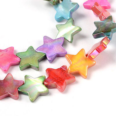 1strand Shell Beads Strands Dyed AB Color Christmas Star Mixed Color 40pc/strand