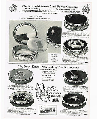 1933 Ad Armor Mesh Powder Pouches Enamel Chromium, Enameled Tile Mesh Bag Silk