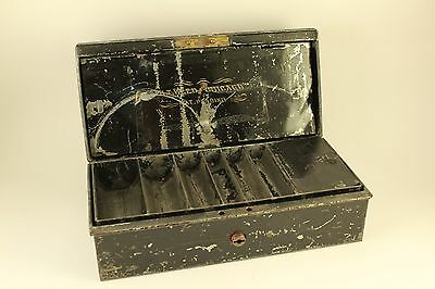 Vtg Antique Metal Cash Box w/ Insert Compartments Change Tray H.T. Reed Chicago