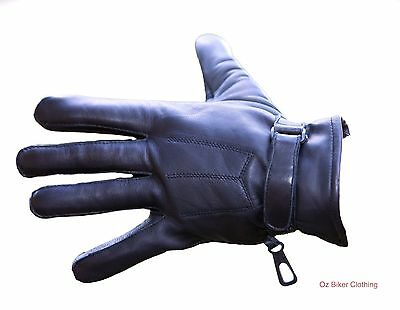 Leather Motorcycle Gloves - 3 Pleat - Black - Oz Biker - Size: LARGE