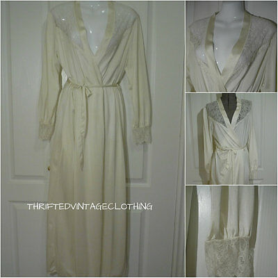 Vintage French Maid Peignoir Belted Robe Long Sleeves Nylon & Lace Ivory Medium