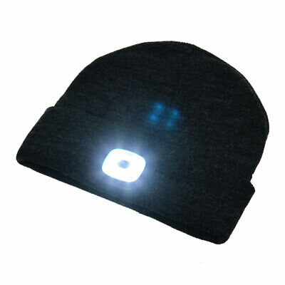 BEAMie Hat With Built-In Rechargeable LED Head Lights, Black