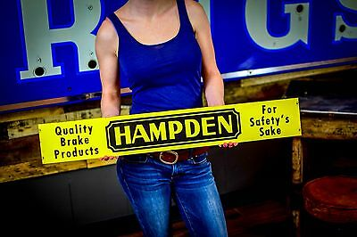 Hampden Brakes Gas Oil Station Tin Sign Rack Topper 50's Vintage Advert 2 sided