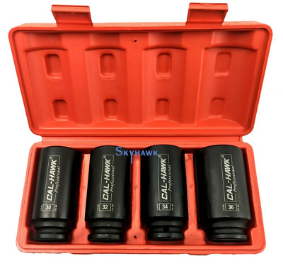 "4pc 1/2""dr 6pt Metric SPINDLE/AXLE NUT DEEP IMPACT SOCKET SET CrMo Steel Blk PO4"