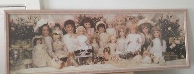 Large Doll Print Panorama View Framed Perfect Condition