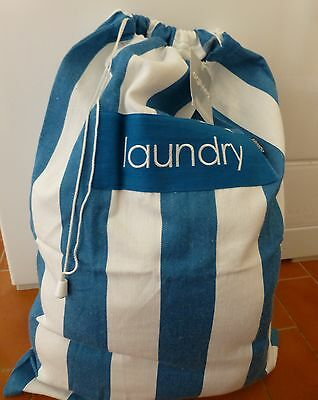 Ogilvies blue and white stripe cotton laundry bag