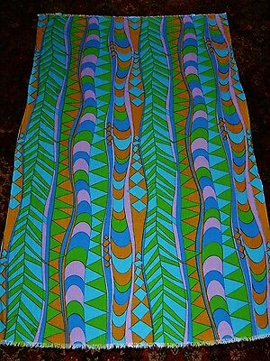 """Vintage Mid Cent Grain Feed Sack Linen Fabric 66"""" x 41"""" Psychedelic Screen Print"""