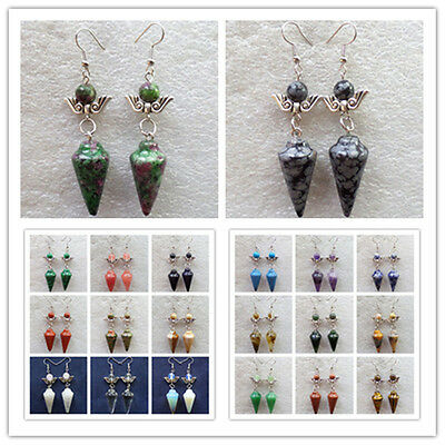 Wholesale! Mixed Stone Pendulum & Tibetan silver Wings Earrings 1 or 21 Pairs U3