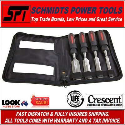 Crescent Wood Chisel Set Through Tang 4 Piece With Carry Case Pcst4 - New