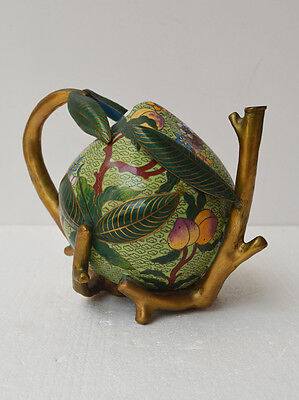 CHINESE CLOISONNE PEACH FORM PUZZLE POT Early-Mid 20th Century Green Gilded