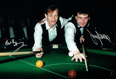 Alex HIGGINS & Jimmy WHITE Signed Autograph 12X8 RARE Snooker Photo AFTAL COA