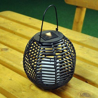 Round Rattan Effect Lantern Flickering Led Candle  Solar Powered Garden Light