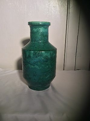 Antique Galloway Terra Cotta Pottery Vase Lg Speckled Green 12""