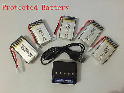 5x Syma X5C V391 3.7v 800mAh RC Quadcopter Part Lipo Protected Battery + Charger