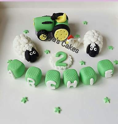 Edible tractor,sheep,name blocks cake topper,farm,animals,icing decoration