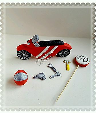 Edible motorbike cake topper,tools,sign, racing,hobby,bike,icing decoration