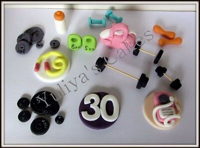 Edible gym equipment cake/cupcake toppers,weights,fitness,sport,workout,decor.