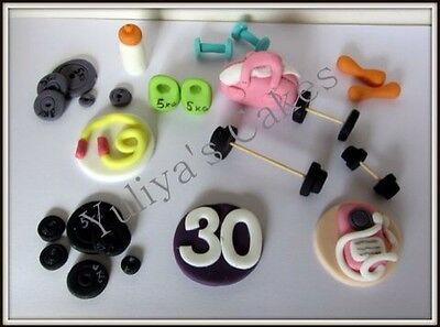Edible gym equipment cake/cupcakes toppers,weight lifting,sport,exercise,man,wom