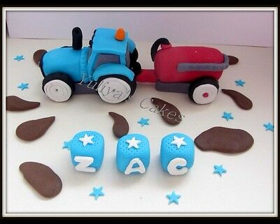 Edible tractor cake topper,trailer,mud,farm,animals,name,icing decoration