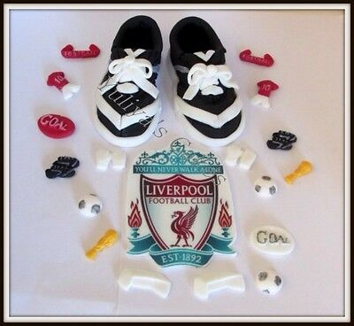 Edible soccer/football boots cake topper,Liverpool,Chelsea,Man.United,decoration