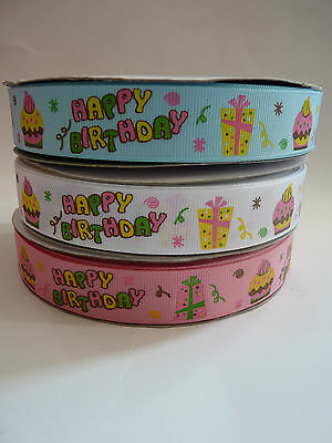 "Happy Birthday Grosgrain Ribbon 1"" sold by 1 metre"
