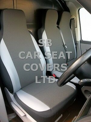 To Fit Ford Transit Van Seat Covers 2006 154 Fabric+Light Grey Trim 1S+1D