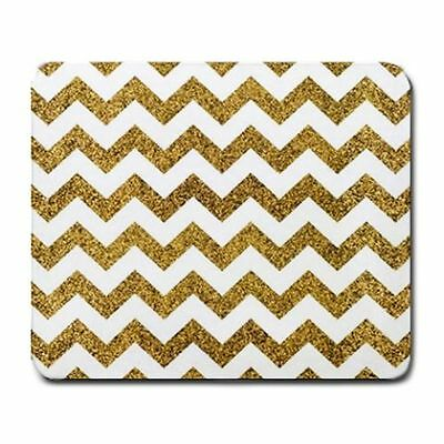 Mouse Pad Free Shipping - Gold Glitter Chevron Large Mousepad Mouse Pad
