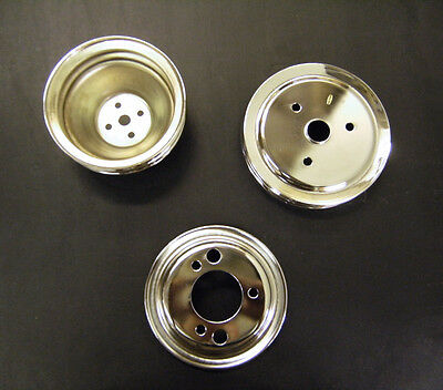 Chrome Chevy 2/3 Groove SWP Water Pump Crank Pulley Pulleys Set 2 upper 3 lower