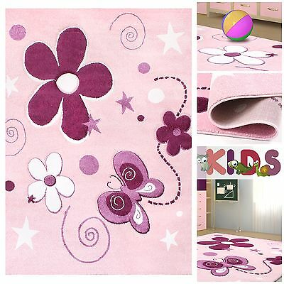kinderteppich spielteppich mit schmetterling und blumen f r m dchen in pink eur 39 90. Black Bedroom Furniture Sets. Home Design Ideas