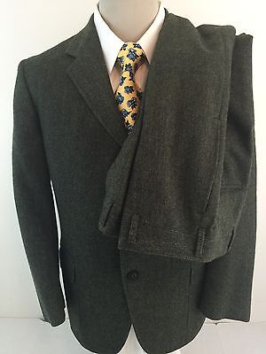 Sears Vintage Green Herringbone 3 Button Suit 38S