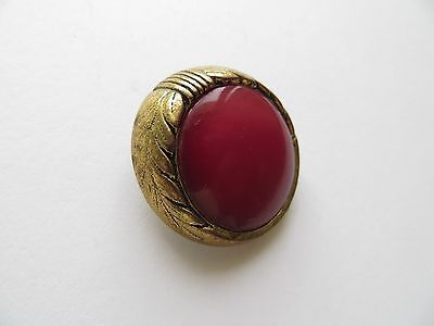1955 Vintage Big Brass-finish Red Bakelite Coat Collectible Button-Beutron 30mm