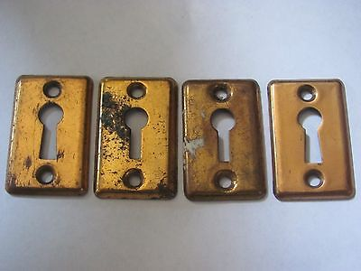 Lot of 4 Antique Square Key Hole Covers Door Hardware NOS I