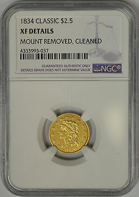 1834 $2.5 Gold Classic Head. NGC XF Details.
