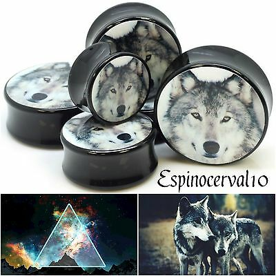 Dilataciones tapadas lobo wolf animal negro ear tunnel plug dilatación 6-16mm