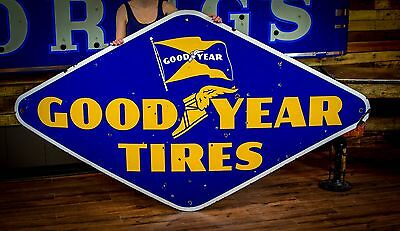 Porcelain GOODYEAR TIRES Sign 8ft Gas Oil Service Station 1940's advertising