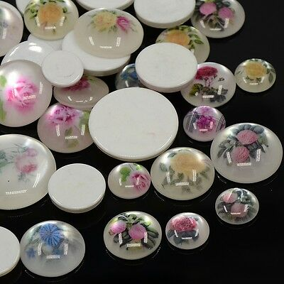 50pc Printed Resin Cabochon Imitation Cat Eye Flat Round Mixed Color 12~25x4~7mm