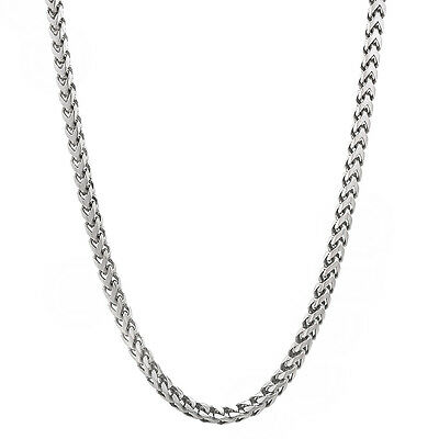 Men's 2.4mm Solid 925 Sterling Silver Franco Link Chain Necklace