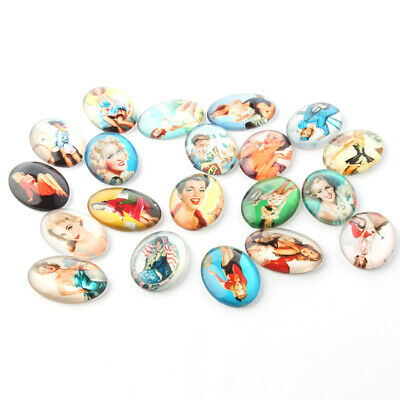 10pcs Sexy Marilyn Monroe Theme Ornaments Glass Oval Flatback Cabochons Mixed
