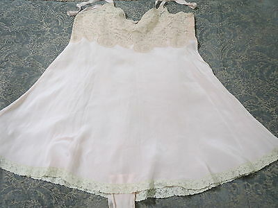 Vtg 1920s Pure Silk Baby Pink Teddy Lingerie Lace & Ribbon Bow Ex Condition