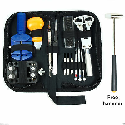 Watch Repair Tool Kit Opener Link Remover Spring Bar Free Hammer w/ Carry Case