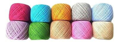 SET LOT of 10 FLUORESCENT 6 Ply Strand Cotton Thread Yarn CrossStitch Embroidery