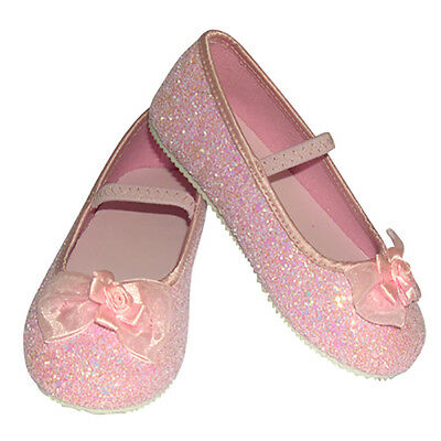 Girls Children's Sparkly Pink Glitter Flower Girl or Bridesmaid Party Shoes