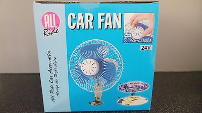 "24 Volt Truck/Lorry 6"" Oscillating Fan c/w Cig Lighter plug with air fresheners"